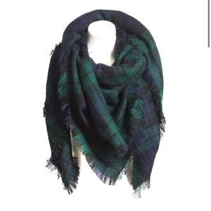Green & Blue Plaid Cozy Scarf